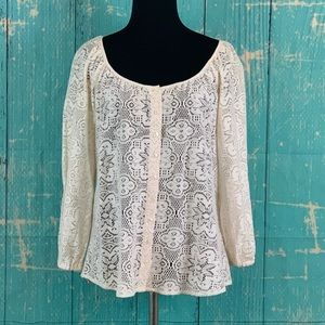 Lucky Brand Ivory Victorian Button Boho Blouse